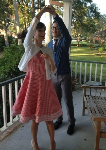 using your own clothes to be 1950's couple for halloween
