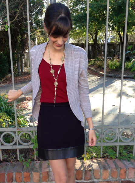 fall look of berry tones and mixture of materials