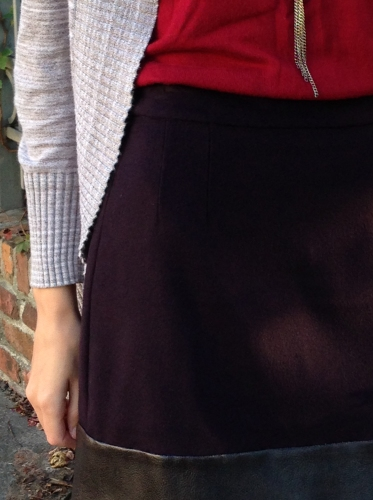 eggplant cashmere flannel skirt with faux leather band