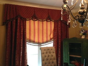 dining room with custom fabric treatments