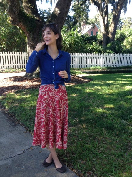 fall refashion with summer skirt