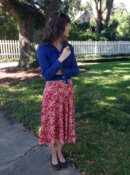 transition summer midi skirt to fall with chambray shirt