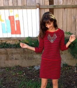 sweater dress refashion with drop waist