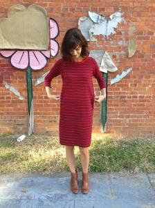 sweater dress refashion- defining the waist