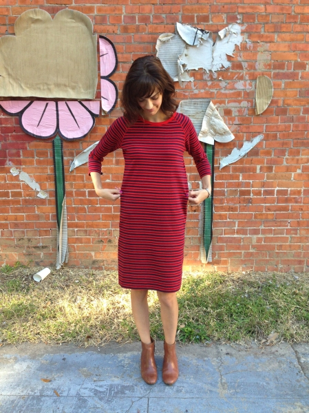 sweater dress refashion- defining the waist