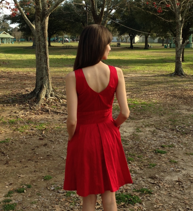 original red dress design with back v detail