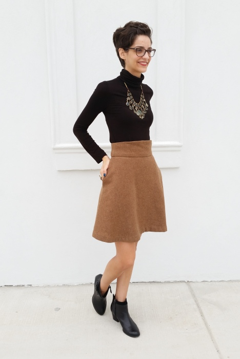 twirly wool skirt