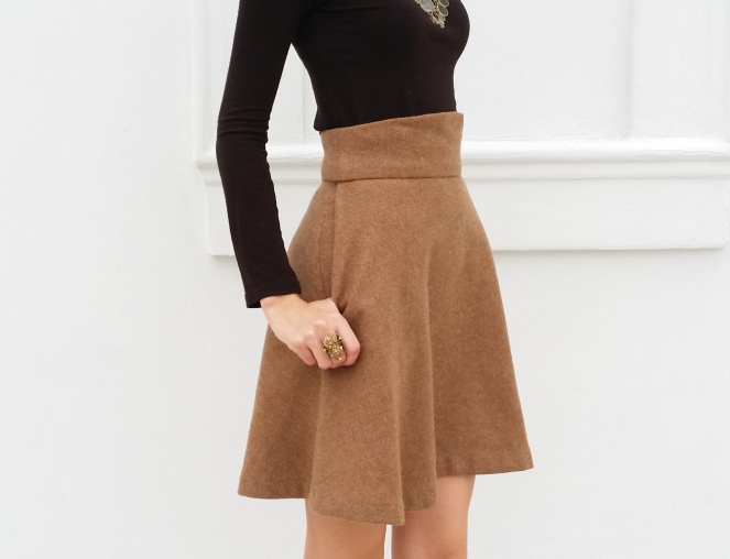 original design tan wool skirt