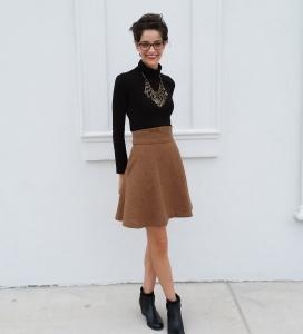 tan twirly wool skirt