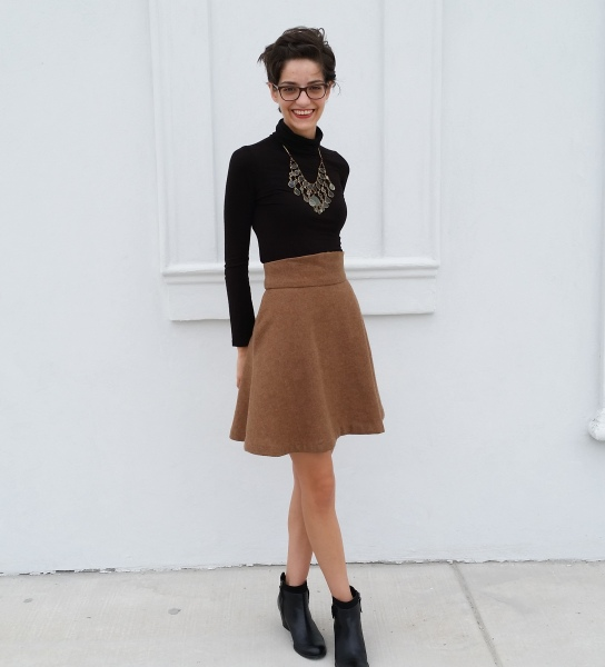 tan twirly wool skirt