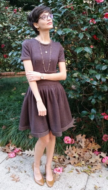 knit wool dress with pleated skirt and contrast detailing