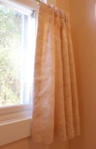 lace overlay on peach fabric