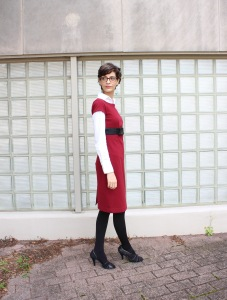 winter look with white shirt layered under short sleeve dress