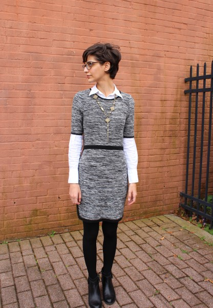 winter layers: sweater dress, white shirt, tights