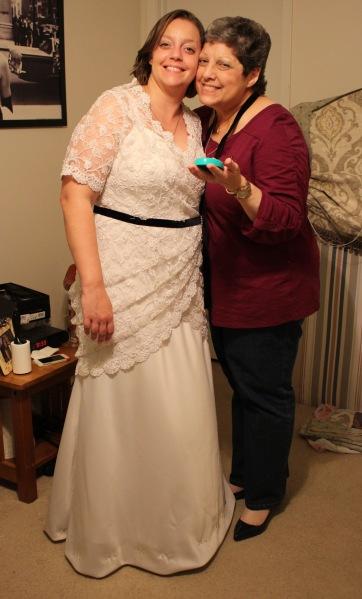 final fitting of wedding dress