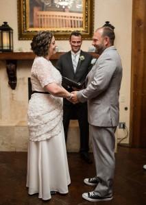 wedding day in custom lace wedding dress