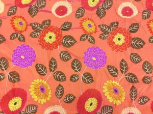 Floral embroidered silk