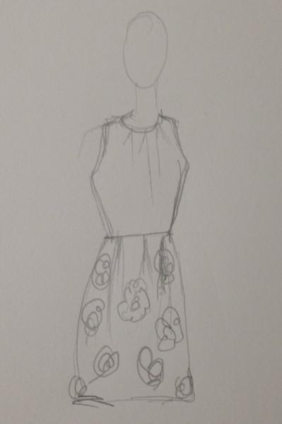 New dress with floral silk