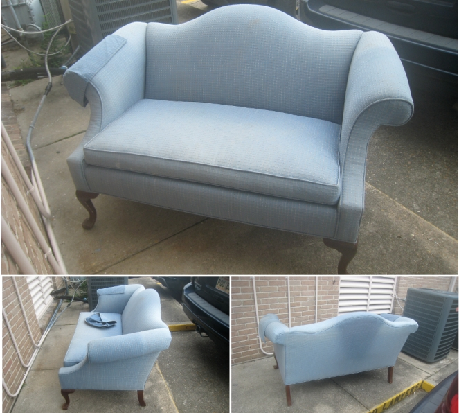 before pictures of settee refashion