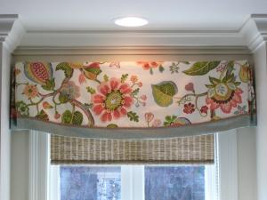 Valance design idea: floral fabric with contrast banding, decorative gimp over seam