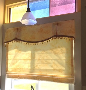 Custom Valance with contrast pleat insets and covered buttons