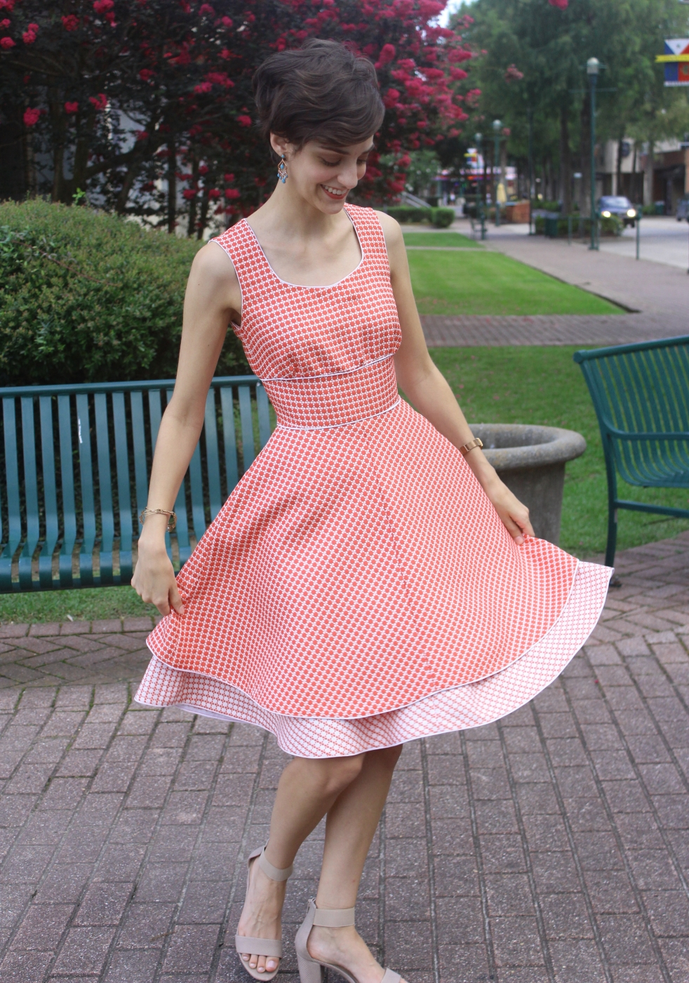 Coral and cream birthday dress. Full, twirly dobule skirt