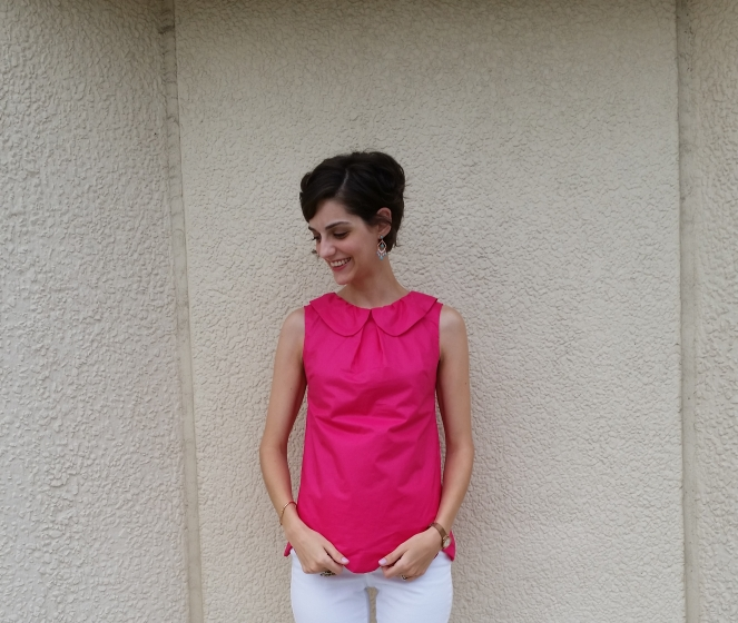 summer tunic in hot pink with peter pan collar