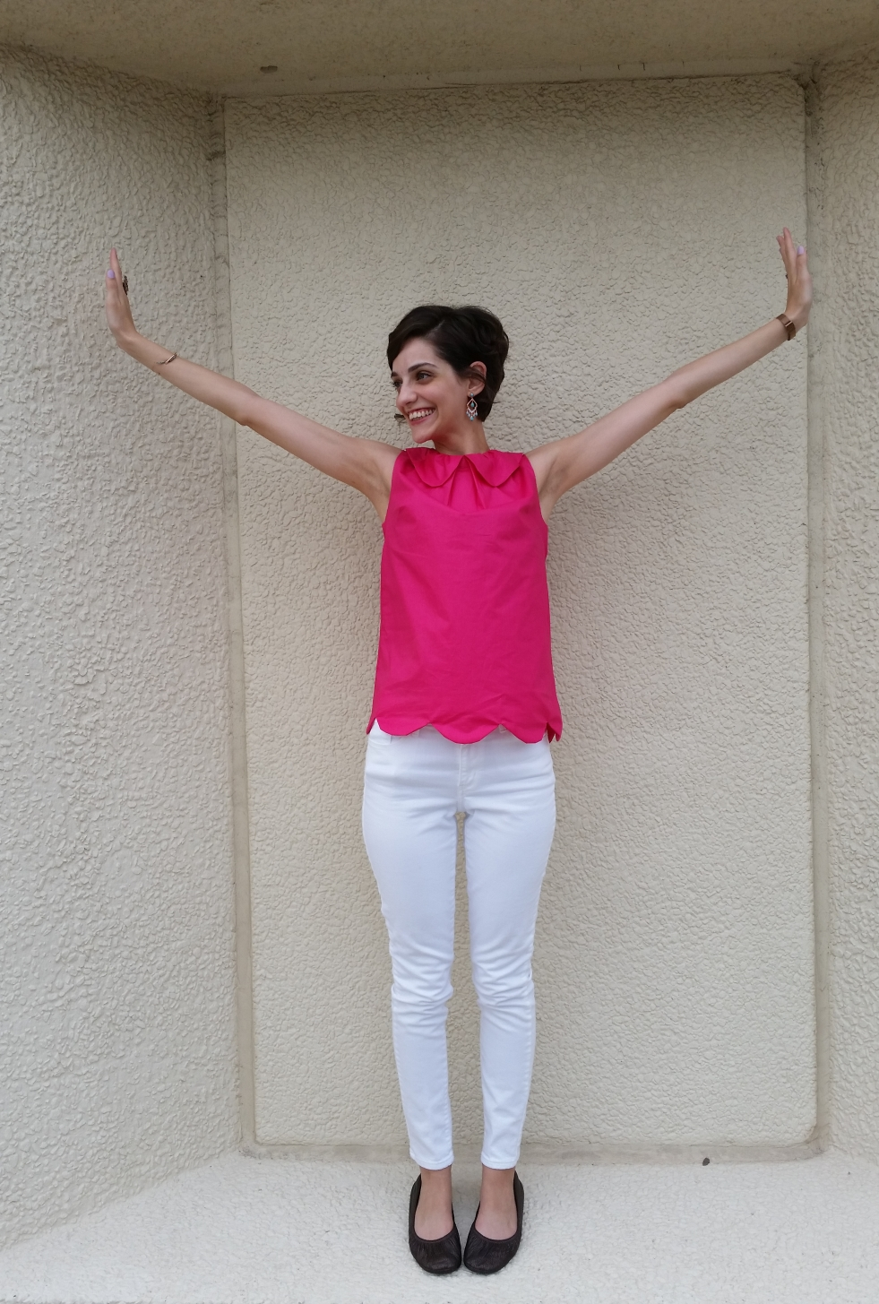 summer tunic with peter pan collar in hot pink