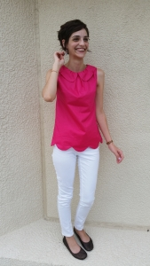 peter pan collar tunic in hot pink