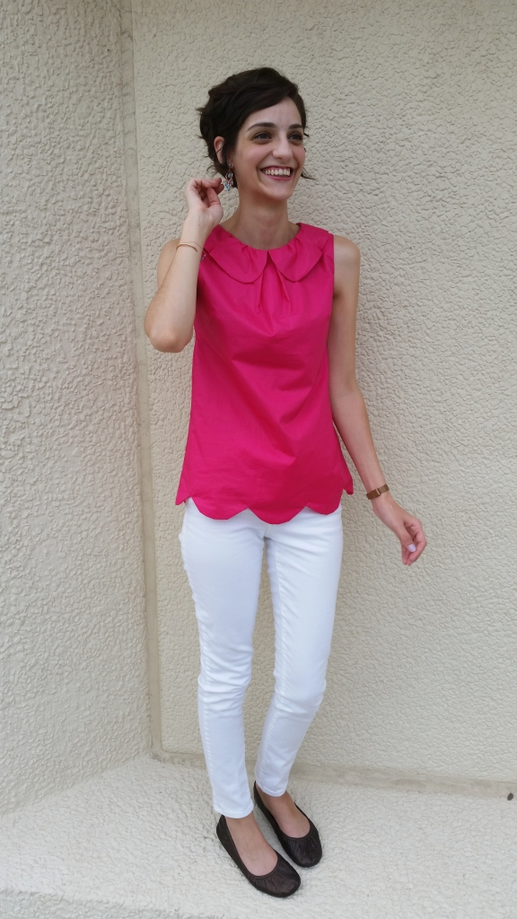 peter pan collar tunic in hot pink