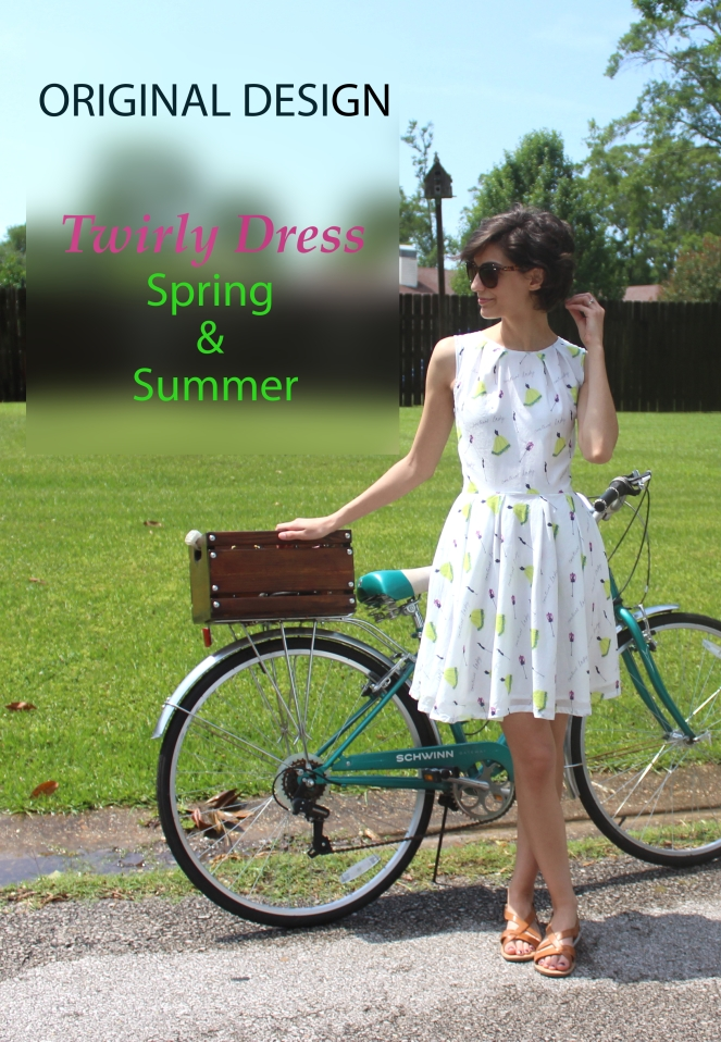 White, cotton print dress for spring and summer. With pockets