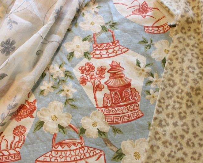 Coordinating fabrics for master bedroom.
