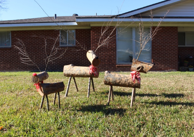 Reindeer made out of tree logs