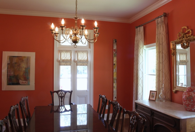 Roman Shades and Drapery Panels in Dining Room